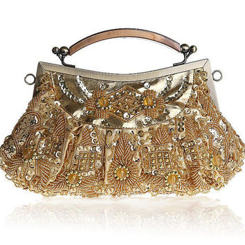 Beaded  Bridal Clutch vintage inspired  / Wedding Bag /  Wedding /  handbag