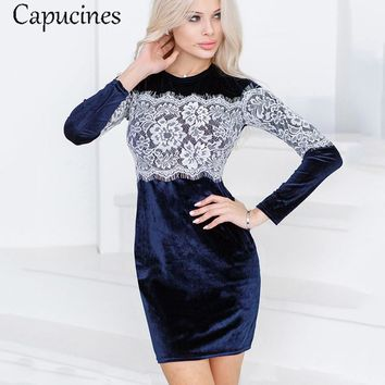 Capucines 2017 New Fashion Lace Splicing Sheath Velvet Dress Autumn Women's Sexy Sheath Bodycon Dress Long Sleeve Party Dresses