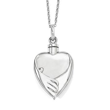 Sterling Silver Forever My Baby Heart Ash Holder Necklace, 18 Inch