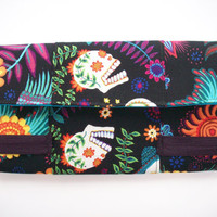 Sugar Skulls Bright Garden Black and Brights Fashion Bifold Wide Women's Cotton Wallet