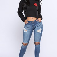 Rose From The Heart Crop Top - Black