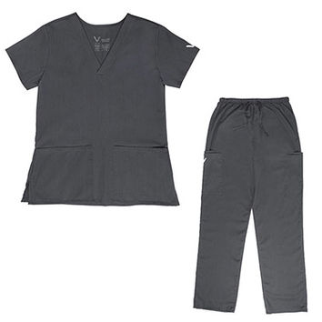 Vestex® Signature Stretch™ Women's V-Neck 2 Pocket Solid Scrub Top & Unisex Cargo Scrub Pant Set