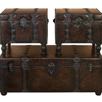A.M.B. Furniture & Design :: Accessories :: Misc. Accessories :: Huge Set of 3 Custom House Leather N Wood Chest Trunks