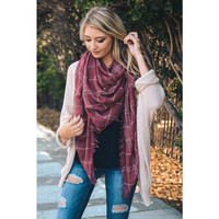 Lightweight Plaid Scarf Wrap in Washed Red