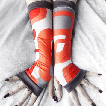 Retro Romp Arm Warmers - Orange Grey & White Geometric Mod Soft Modal - Yoga Gloves Gothic Belly Dance Fusion Light Goth Hipster Cycling