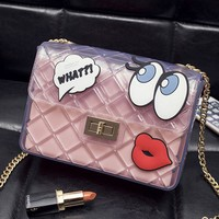 Streetstyle  Casual Sheer Fabric Cartoon Eyes Chain Crossbody Bag