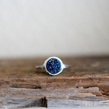 Cobalt Round Druzy Ring - 8mm