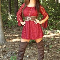 Picture Perfect Lace Dress Burgundy