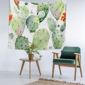 Water Color Cactus Wall Tapestry