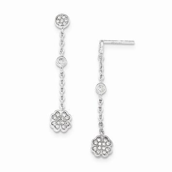 Sterling Silver Polished White CZ Four Leaf Clover Dangle Earrings