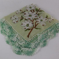 Dogwood Embroidered Hankie Green