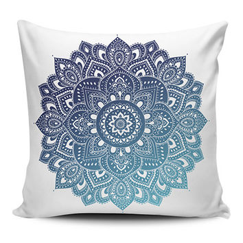 Blue Mandala Spiritual Pillow Covers