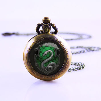 Harry Potter inspired Pocket Watch Necklace,Salazar Slytherin snake pendant locket watch necklace, 2014 Woman Best Necklace
