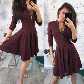 2018 summer Fashion Women Bust Zippers Dress Solid Pleated V-neck Sexy Ladies Dresses Evening Party Bodycon Mini Dress vestidos
