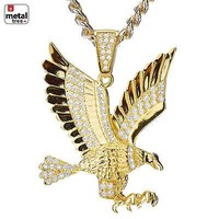 Jewelry Kay style Men's CZ 14k Gold Plated Mini Eagle Pendant Cuban Chain Set BCH 411