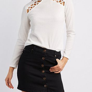 Ribbed Caged-Detail Mock Neck Top | Charlotte Russe