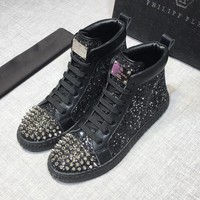PHILIPP PLEIN Hi-Top Black Crystal Metal Silver Studs Sneakers - Best Deal Online
