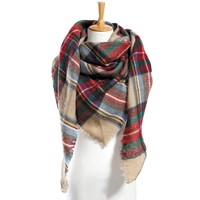 Winter Square Women Plaid Multifunction Blanket Checked Warm Scarf Shawl Wrap