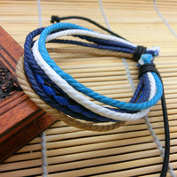 cotton ropes Woven Women's Leather Cuff Bracelet  Unisex  Cuff Bangle C12