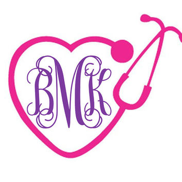 Stethoscope Decal - Nursing Decal - Yeti Decal for Women - Yeti Decal for Men - Laptop Decal - Vine Monogram - Medical Decal - Nurse Sticker