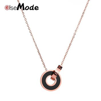 ELSEMODE Fashion 5 Style Titanium Steel Carter Love Roman Numerals Rose Gold Pendant Simple Necklace Women Screwdriver Jewelry