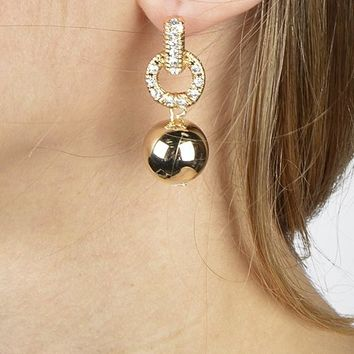 Crystal Accented Bead Stud Dangle Earring