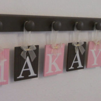 Pastel Pink and Brown Baby Girl Nursery Decor MAKAYLA  Includes 7 Wooden Plaque Letters and Pegs
