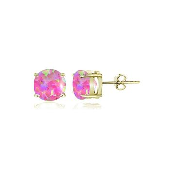 Gold Tone over Sterling Silver Created Pink Opal 4mm Round Stud Earrings