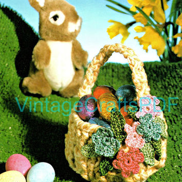 1970s Trinket Flower Basket-Vintage Crochet Pattern-Party Baskets-Candy Baskets-Easter Basket-Flowers Leaves and Handle-Vintage Crafts PDF
