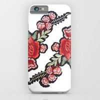Red rose embroidery patch embroidered red roses trendy popular modern boho chic iPhone & iPod Case by iGalaxy