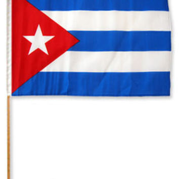 Cuban Flag with stick