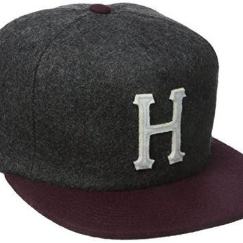 HUF Men's Wool Classic H Strap Back, Charcoal/Wine, One Size
