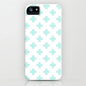 Cross Pattern Mint iPhone & iPod Case by Pattern Plus