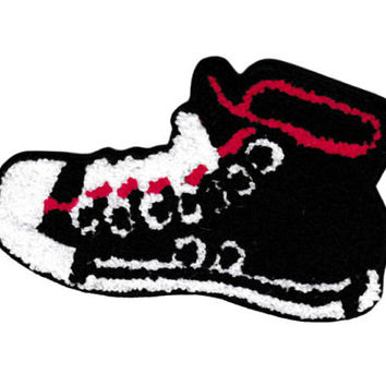 XL Extra Large Vintage Style Chenille Black High Hi Top Basketball Star Sneaker Shoe Patch Badge (14cm)