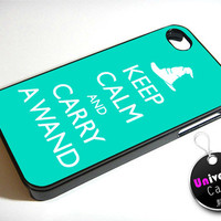 Harry Potter Hogwarts Keep Calm and Carry a Wand iPhone 4S Case Hard Plastic