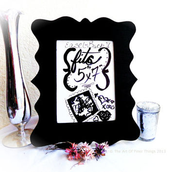 Black Ornate Frame 8.5x11 fits 5x7 gallery wall laser cut wood frames - black picture frames- black photo frames