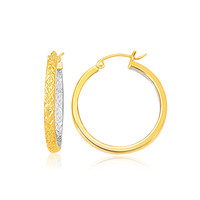 Two-Tone Yellow and White Gold Medium Patterned Hoop Earrings