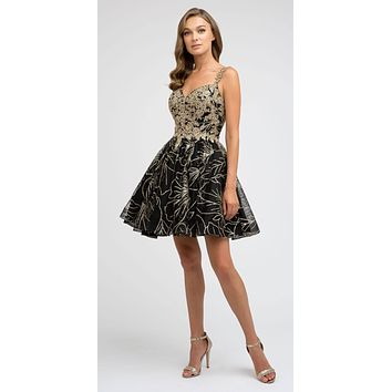 Short Black/Gold Homecoming Dress A-line Applique and Glitter