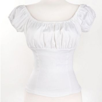 Shopping Online American Vintage Woman Blouse Summer Sexy Low Back White Retro Peasant Tops Cotton