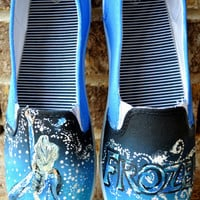Elsa Frozen Hand Painted Canvas Shoes (made to order) FREE SHIPPING