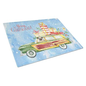 Merry Christmas Pug Glass Cutting Board Large CK2463LCB