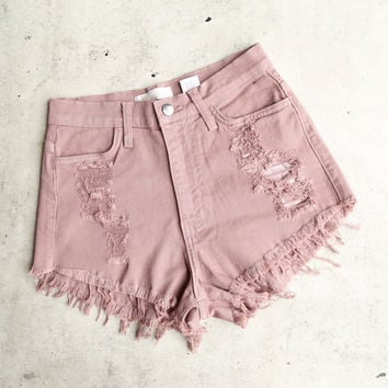 high waisted shredded denim cut off shorts - rose