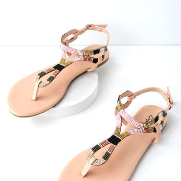 Marty Nude Beaded Thong Sandals