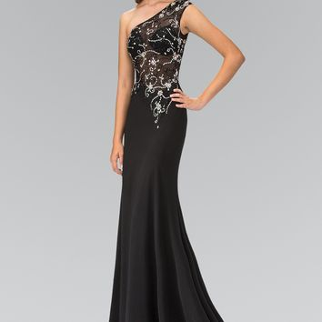 Sparkling Beaded Sheer Illusion Bodice Long fitted Prom Dress #gl2143
