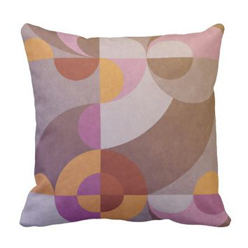Geometric abstract retro circles in warm colors throw pillow