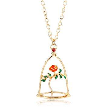 dongsheng Beauty and the Beast Rose Necklaces & Pendants Beauty Beast Belle Rose Candle Statement Necklace Valentines Day Gift