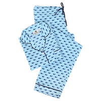 Whales Pajama Set, Blue, Pajamas