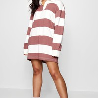 Oversized Tonal Stripe Rugby Shirt Dress | Boohoo