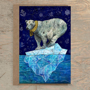 Stellar Edge - Greeting Card /// Polar Bear Card, Winter Card, Holiday Card, Animal Stationery, Wildlife Card, Christmas Card, Illustration