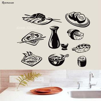 9 Pcs/Set Seafood Wall Decals Sushi Vinyl Food Plane wall Sticker Kitchen Home Decor Cafe Restaurant Removable Art Murals K-19